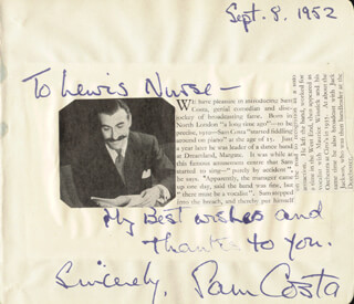 SAM COSTA - AUTOGRAPH NOTE SIGNED 09/08/1952 CO-SIGNED BY: ZENA DARE
