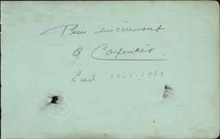 GEORGES ORCHID MAN CARPENTIER - AUTOGRAPH SENTIMENT SIGNED 10/01/1927