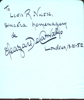 ELEAZAR DE CARVALHO - AUTOGRAPH NOTE SIGNED 11/13/1952