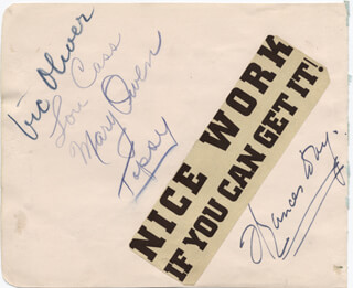 FRANCES DAY - AUTOGRAPH CO-SIGNED BY: VIC (VICTOR) OLIVER, LOU CASS, MARY OWEN, TOPSY