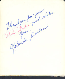 YOLANDE DONLAN - AUTOGRAPH NOTE SIGNED
