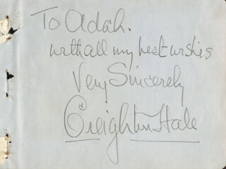 CREIGHTON HALE - AUTOGRAPH NOTE SIGNED