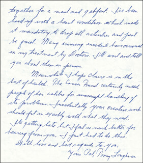 TOMMY LOUGHRAN - AUTOGRAPH LETTER SIGNED 08/06/1974