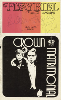 CROWN MATRIMONIAL PLAY CAST - SHOW BILL SIGNED CO-SIGNED BY: EILEEN HERLIE, GEORGE GRIZZARD