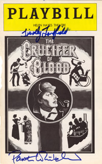 CRUCIFER OF BLOOD BROADWAY CAST - SHOW BILL COVER SIGNED CO-SIGNED BY: PAXTON WHITEHEAD, TIMOTHY LANDFIELD