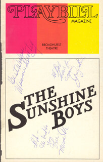 SUNSHINE BOYS BROADWAY CAST - INSCRIBED SHOW BILL COVER SIGNED CO-SIGNED BY: LEE MEREDITH, MINNIE GENTRY, JERRY STEIN