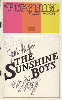 THE SUNSHINE BOYS PLAY CAST - SHOW BILL COVER SIGNED CO-SIGNED BY: LEE MEREDITH, MINNIE GENTRY, JACK GILFORD