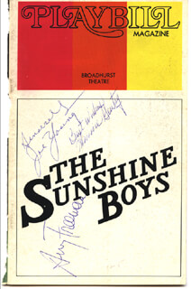 SUNSHINE BOYS BROADWAY CAST - SHOW BILL COVER SIGNED CO-SIGNED BY: JOE YOUNG, MINNIE GENTRY, AVERY FREEMAN