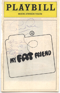 MY FAT FRIEND BROADWAY CAST - SHOW BILL COVER SIGNED CO-SIGNED BY: GEORGE ROSE, LYNN REDGRAVE