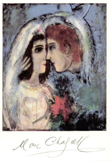 Autographs: MARC CHAGALL - PICTURE POST CARD SIGNED