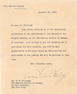 PRESIDENT CALVIN COOLIDGE - TYPED LETTER SIGNED 12/20/1923