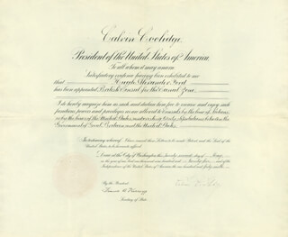PRESIDENT CALVIN COOLIDGE - DIPLOMATIC APPOINTMENT SIGNED 05/22/1925 CO-SIGNED BY: FRANK B. KELLOGG