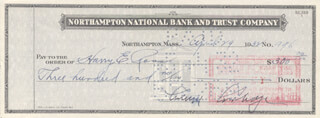 PRESIDENT CALVIN COOLIDGE - AUTOGRAPHED SIGNED CHECK 04/29/1932