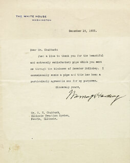 PRESIDENT WARREN G. HARDING - TYPED LETTER SIGNED 12/19/1922