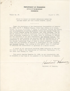 Autographs: PRESIDENT HERBERT HOOVER - DOCUMENT SIGNED 08/03/1922