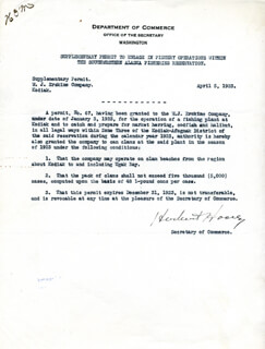 PRESIDENT HERBERT HOOVER - DOCUMENT SIGNED 04/05/1923