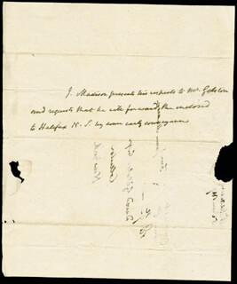 PRESIDENT JAMES MADISON - THIRD PERSON AUTOGRAPH LETTER 06/05/1817