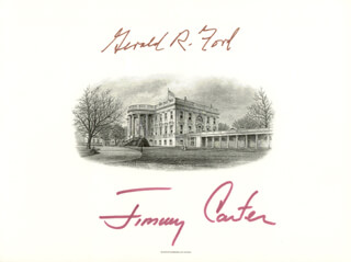 PRESIDENT JAMES E. JIMMY CARTER - WHITE HOUSE ENGRAVING SIGNED CO-SIGNED BY: PRESIDENT GERALD R. FORD