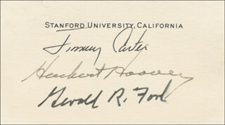THE THREE PRESIDENTS - PRINTED CARD SIGNED IN INK CO-SIGNED BY: PRESIDENT JAMES E. JIMMY CARTER, PRESIDENT HERBERT HOOVER, PRESIDENT GERALD R. FORD