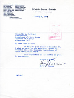 PRESIDENT HARRY S TRUMAN - TYPED LETTER SIGNED 01/08/1937