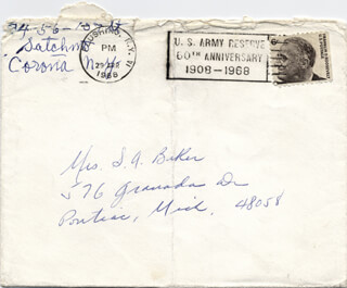 LOUIS SATCHMO ARMSTRONG - AUTOGRAPH ENVELOPE SIGNED 04/29/1968