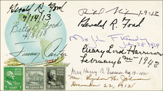 THE THREE PRESIDENTS - COMMEMORATIVE ENVELOPE SIGNED CO-SIGNED BY: PRESIDENT JAMES E. JIMMY CARTER, FIRST LADY BETTY FORD, FIRST LADY MARY LORD HARRISON, FIRST LADY LADY BIRD JOHNSON, FIRST LADY JACQUELINE B. KENNEDY, PRESIDENT RICHARD M. NIXON, FIRST LADY BESS W. TRUMAN, PRESIDENT GERALD R. FORD