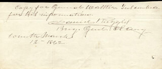 Autographs: BRIGADIER GENERAL DANIEL RUGGLES - AUTOGRAPH NOTE SIGNED 03/13/1862