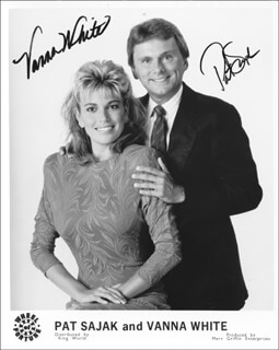 WHEEL OF FORTUNE TV CAST - AUTOGRAPHED SIGNED PHOTOGRAPH CO-SIGNED BY: VANNA WHITE, PAT SAJAK