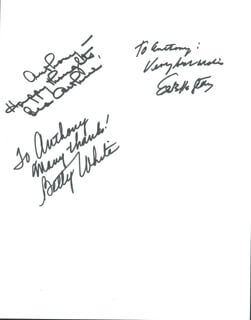 GOLDEN GIRLS TV CAST - AUTOGRAPH NOTE SIGNED CO-SIGNED BY: ESTELLE GETTY, BEATRICE BEA ARTHUR, BETTY WHITE