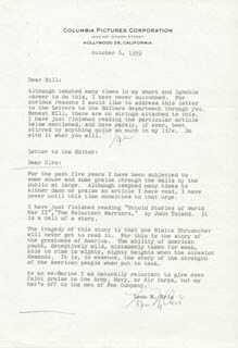 LEON URIS - TYPED LETTER SIGNED 10/06/1959