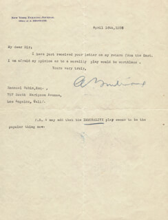 ARTHUR BRISBANE - TYPED LETTER SIGNED 04/16/1926