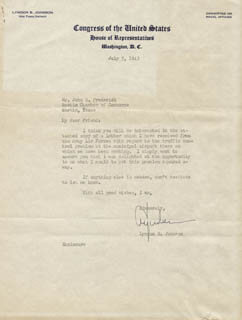 PRESIDENT LYNDON B. JOHNSON - TYPED LETTER SIGNED 07/07/1943