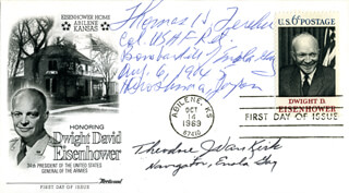 ENOLA GAY CREW - FIRST DAY COVER SIGNED CO-SIGNED BY: ENOLA GAY CREW (THEODORE VAN KIRK), ENOLA GAY CREW (COLONEL THOMAS W. FEREBEE)