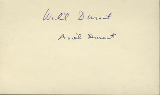 WILL DURANT - AUTOGRAPH CO-SIGNED BY: ARIEL DURANT