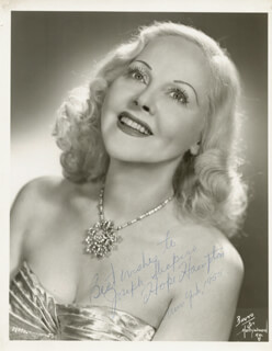 HOPE HAMPTON - AUTOGRAPHED SIGNED PHOTOGRAPH 1955