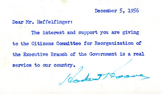 PRESIDENT HERBERT HOOVER - TYPED NOTE SIGNED 12/05/1956