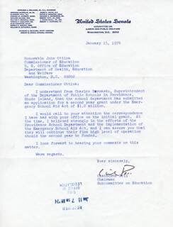 CLAIBORNE PELL - TYPED LETTER SIGNED 01/15/1974
