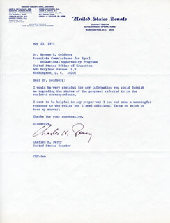 CHARLES H. PERCY - TYPED LETTER SIGNED 05/13/1975