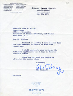 Autographs: ABRAHAM A. RIBICOFF - TYPED LETTER SIGNED 05/16/1974