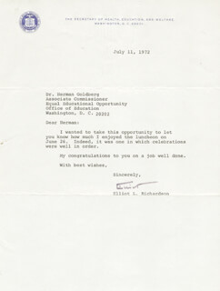 Autographs: ELLIOT L. RICHARDSON - TYPED LETTER SIGNED 07/11/1972