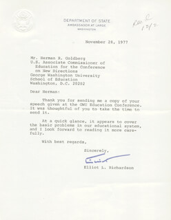 Autographs: ELLIOT L. RICHARDSON - TYPED LETTER SIGNED 11/28/1977
