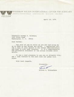 ELLIOT L. RICHARDSON - TYPED LETTER SIGNED 04/16/1974
