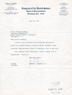 Autographs: JOSEPH P. ADDABBO - TYPED LETTER SIGNED 06/18/1973