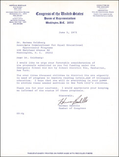 Autographs: HERMAN BADILLO - TYPED LETTER SIGNED 06/05/1975