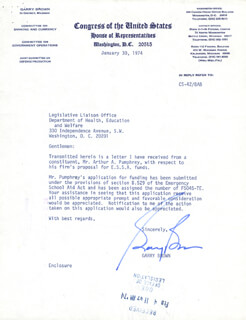 GARRY BROWN - TYPED LETTER SIGNED 01/30/1974
