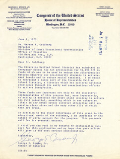 Autographs: GEORGE E. BROWN JR. - TYPED LETTER SIGNED 06/01/1973