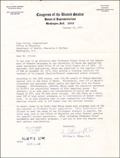 Autographs: WILLIAM COHEN - TYPED LETTER SIGNED 01/24/1974