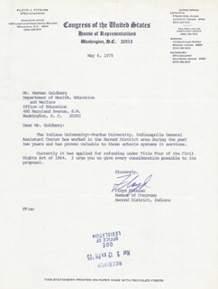 FLOYD FITHIAN - TYPED LETTER SIGNED 05/06/1975