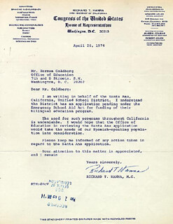 RICHARD T. HANNA - TYPED LETTER SIGNED 04/26/1974