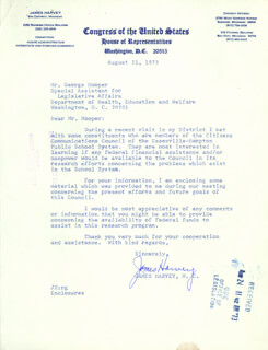 JAMES HARVEY - TYPED LETTER SIGNED 08/21/1973